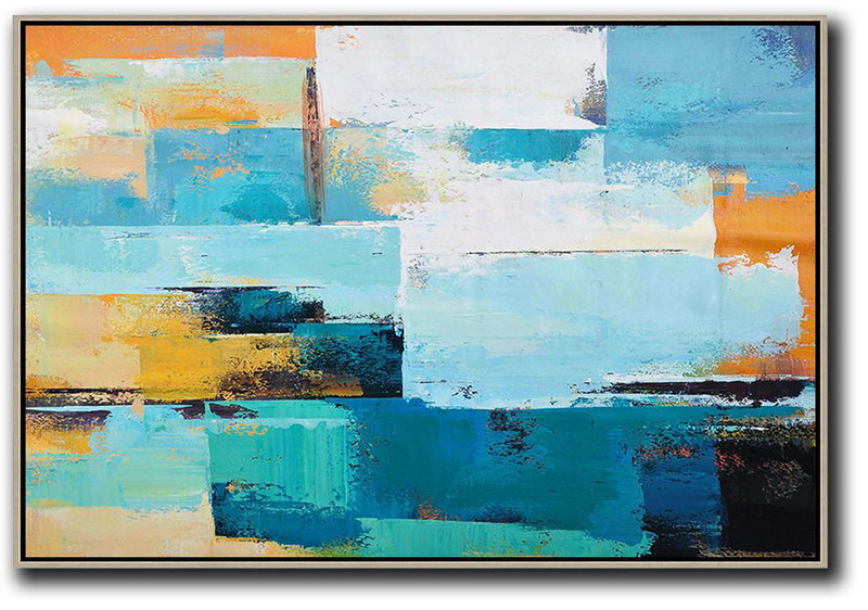 Horizontal Palette Knife Contemporary Art,Abstract Painting For Home,Blue,White,Yellow