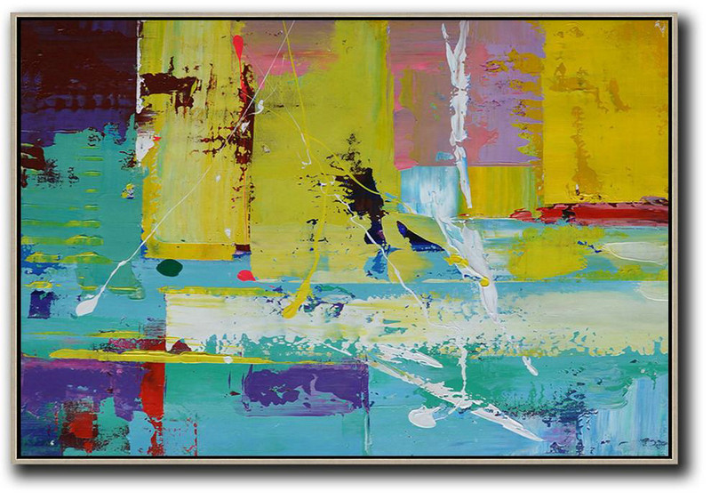 Horizontal Palette Knife Contemporary Art,Contemporary Abstract Painting,Yellow,Blue,Purple,Pink