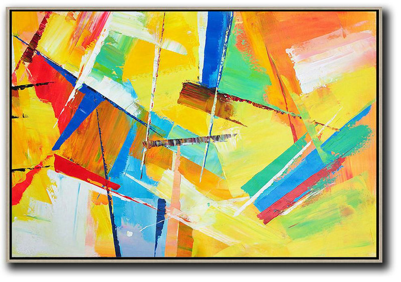 Horizontal Palette Knife Contemporary Art,Original Abstract Oil Paintings,Yellow,Red,Blue