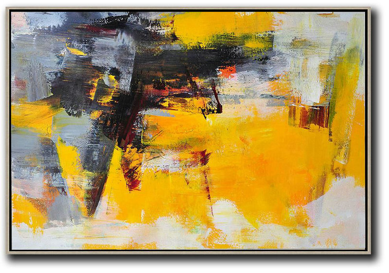 Horizontal Palette Knife Contemporary Art,Colorful Wall Art,Black,Grey,Yellow