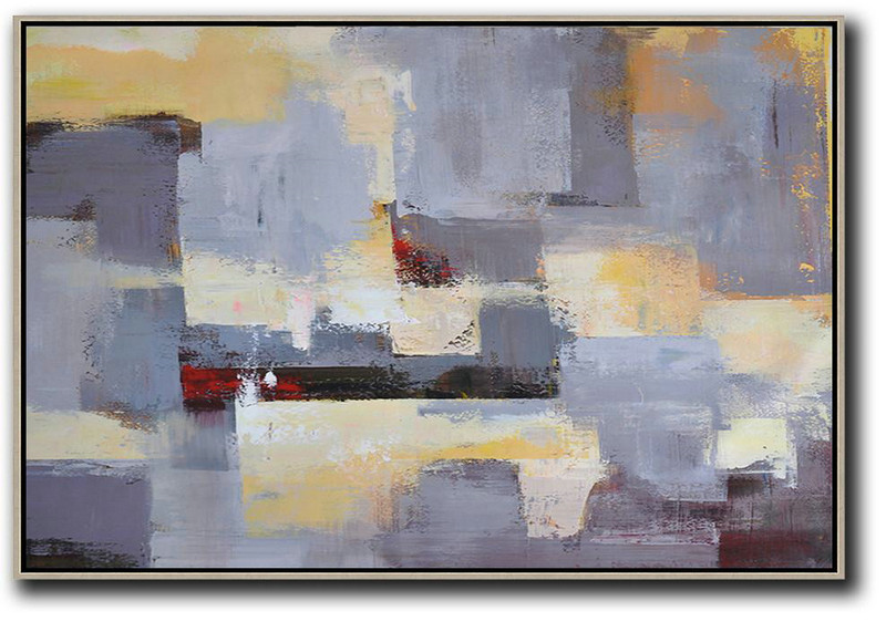 Horizontal Palette Knife Contemporary Art,Contemporary Art Wall Decor,Grey,Yellow,White
