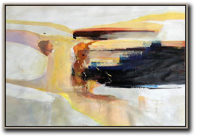 Horizontal Palette Knife Contemporary Art,Canvas Wall Art Home Decor,Grey,Yellow,Black,White