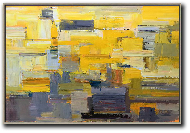 Horizontal Palette Knife Contemporary Art,Hand Painted Abstract Art,Yellow,Grey,White