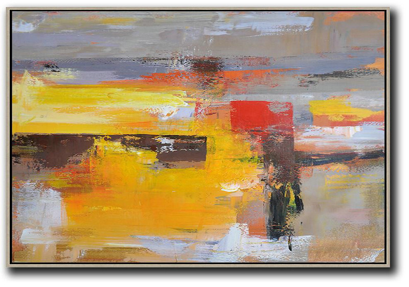 Horizontal Palette Knife Contemporary Art,Contemporary Art Acrylic Painting,Grey,Yellow,Red