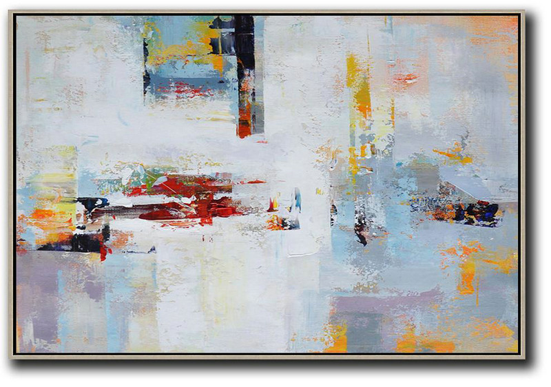 Horizontal Palette Knife Contemporary Art,Abstract Painting Modern Art,White,Red,Grey,Purple,Sky Blue