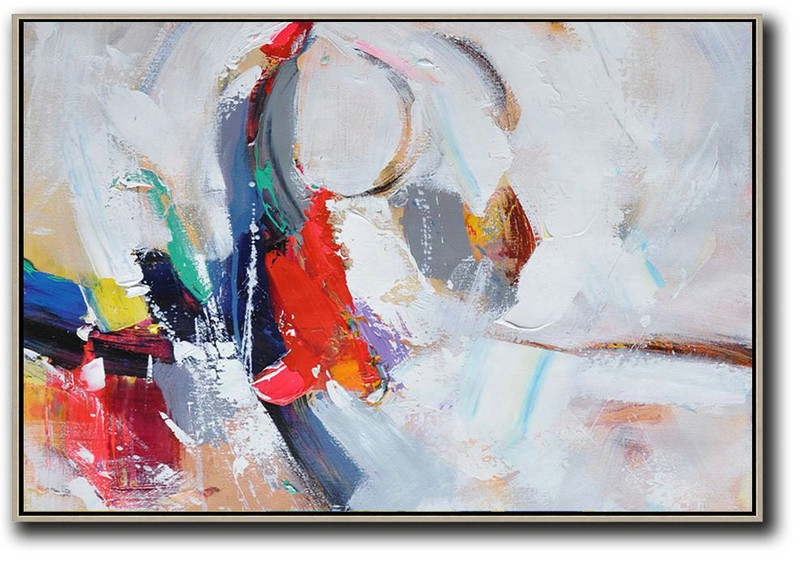 Horizontal Palette Knife Contemporary Art,Original Abstract Painting Canvas Art,White,Grey,Dark Blue,Red