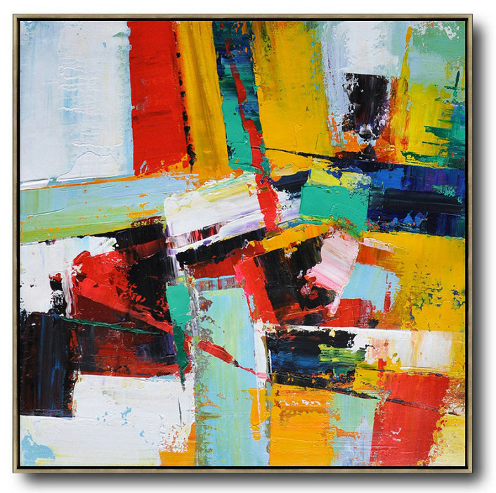 Oversized Palette Knife Painting Contemporary Art On Canvas,Oversized Wall Decor,Yellow,Red,Light Green