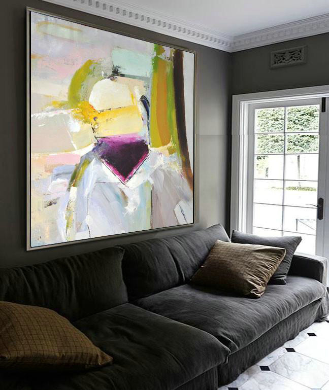 Oversized Palette Knife Painting Contemporary Art On Canvas,Contemporary Art Acrylic Painting,Yellow,Pink,Grey,Black