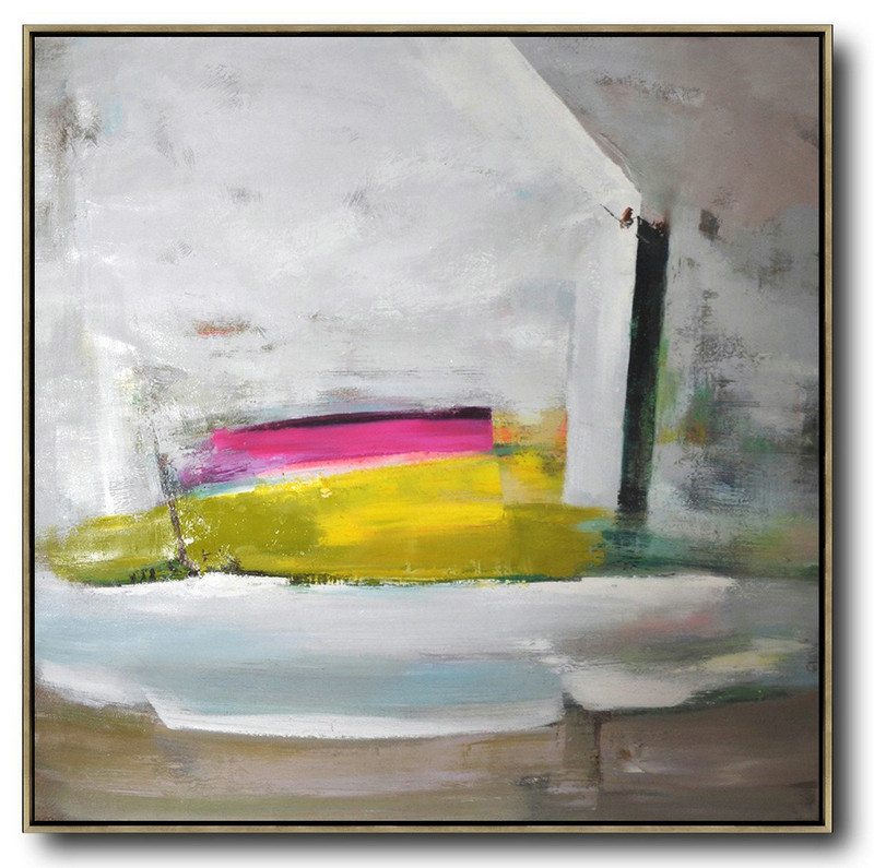 Oversized Palette Knife Painting Contemporary Art On Canvas,Huge Wall Decor,Grey,Pink,Yellow