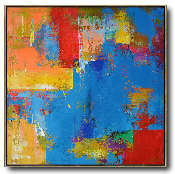 Oversized Palette Knife Painting Contemporary Art,Big Living Room Decor,Blue,Yellow,Red,Purple