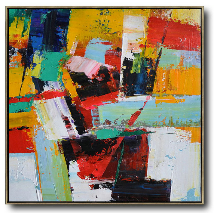 Oversized Palette Knife Painting Contemporary Art On Canvas,Large Abstract Wall Art,Yellow,Red,Blue,Black,Light Green