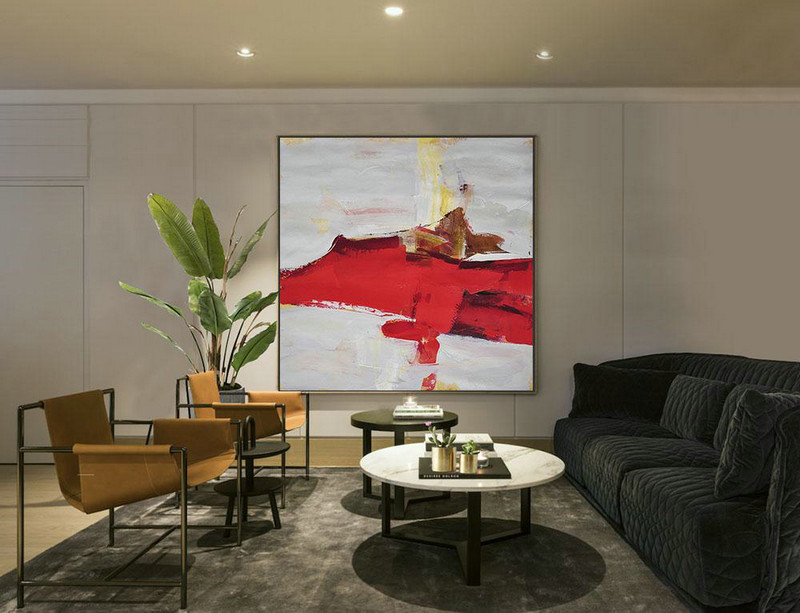 Oversized Palette Knife Painting Contemporary Art On Canvas,Modern Canvas Art,Grey,Red,Yellow,Brown