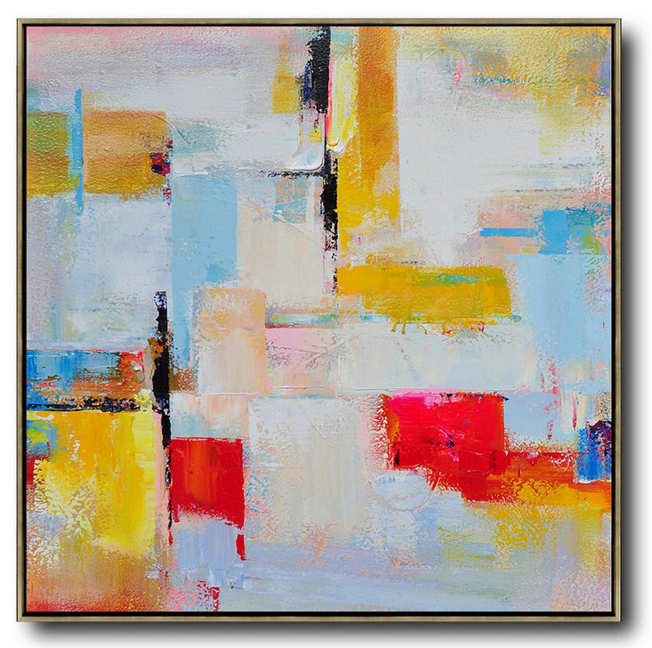 Oversized Palette Knife Painting Contemporary Art On Canvas,Canvas Paintings For Sale,Grey,Yellow,Red,Sky Blue