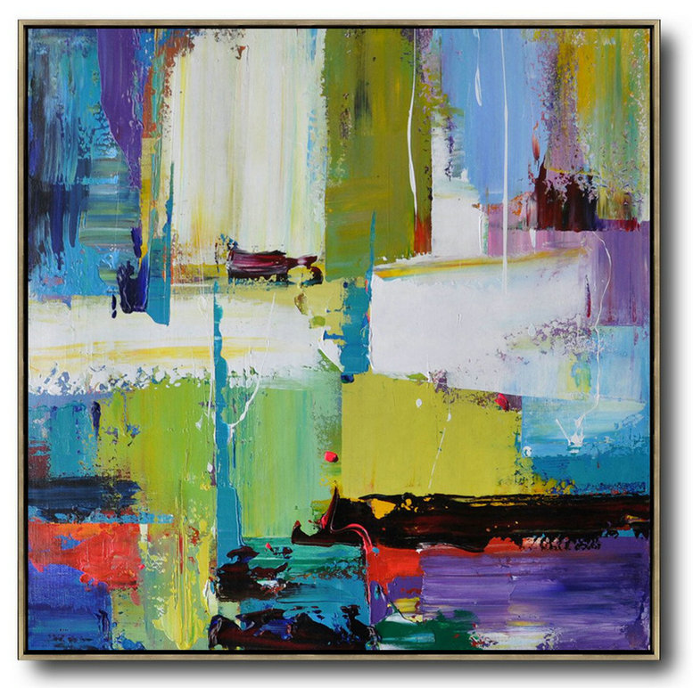 Oversized Palette Knife Painting Contemporary Art On Canvas,Big Painting,Green,Yellow,White,Purple,Blue,Red