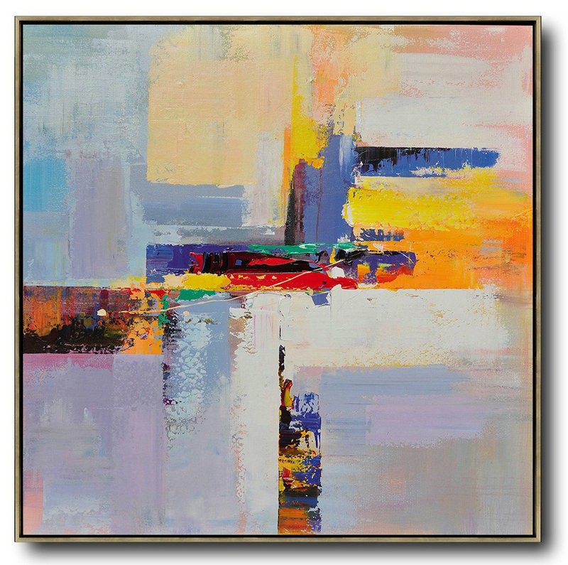 Oversized Palette Knife Painting Contemporary Art On Canvas,Large Living Room Wall Decor,Blue,Yellow,Red,Pink Purple