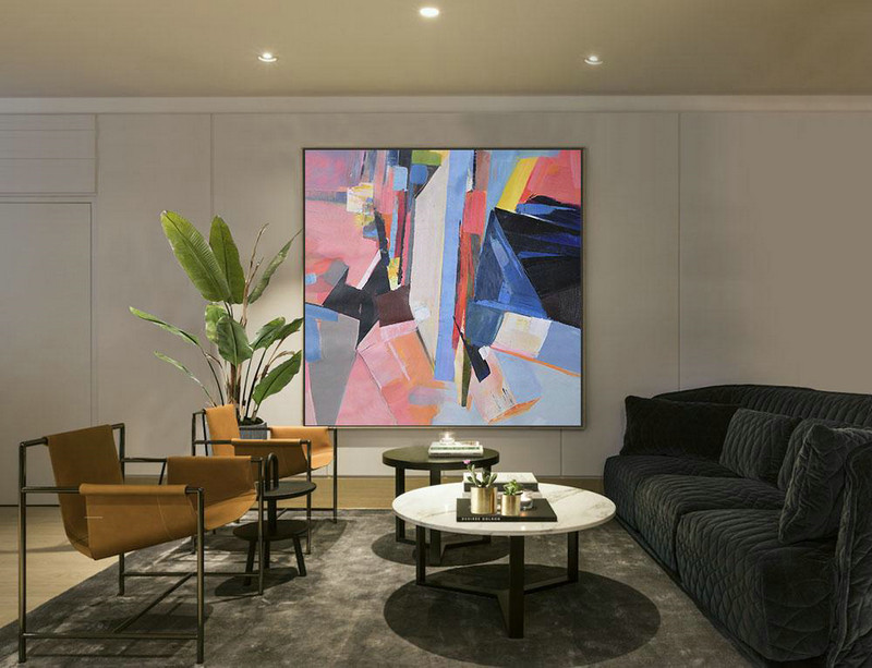Oversized Palette Knife Painting Contemporary Art On Canvas,Lounge Room Decor,Pink,Blue,Dark Blue,Red,Yellow