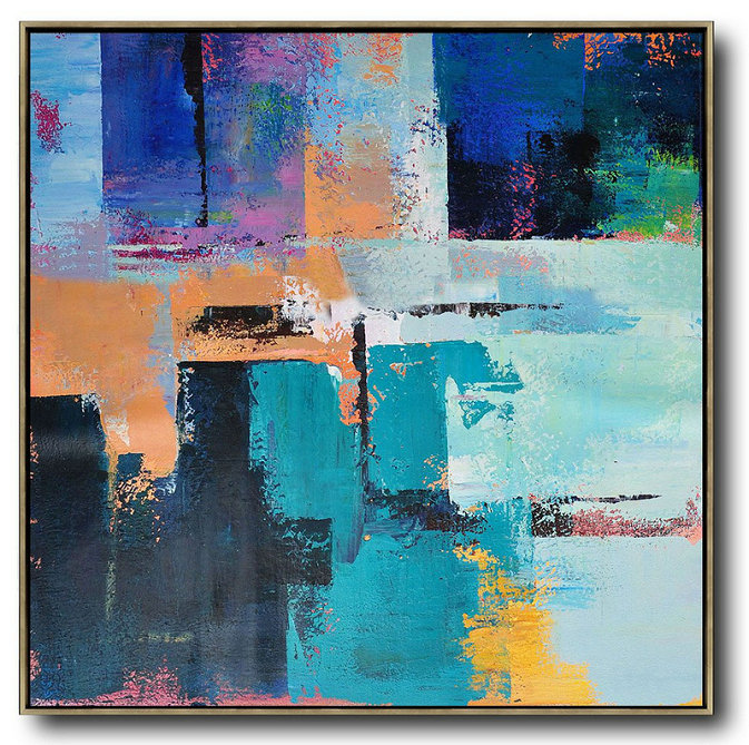 Oversized Palette Knife Painting Contemporary Art On Canvas,Xl Large Canvas Art,Blue,Purple,Green,Yellow,Orange