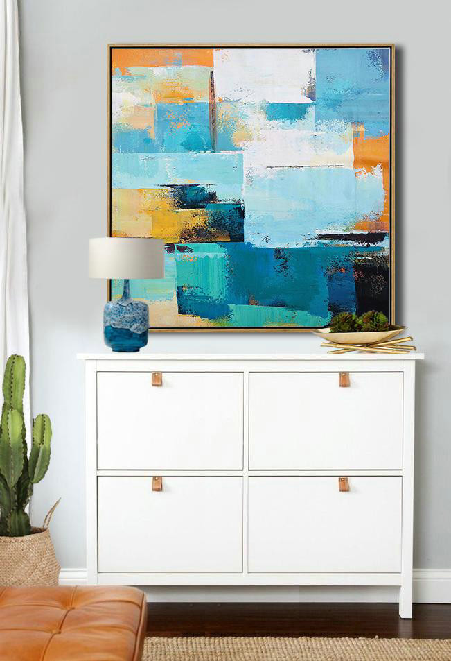 Oversized Palette Knife Painting Contemporary Art On Canvas,Colorful Wall Art,Navy Blue,Sky Blue,White,Yellow,Black