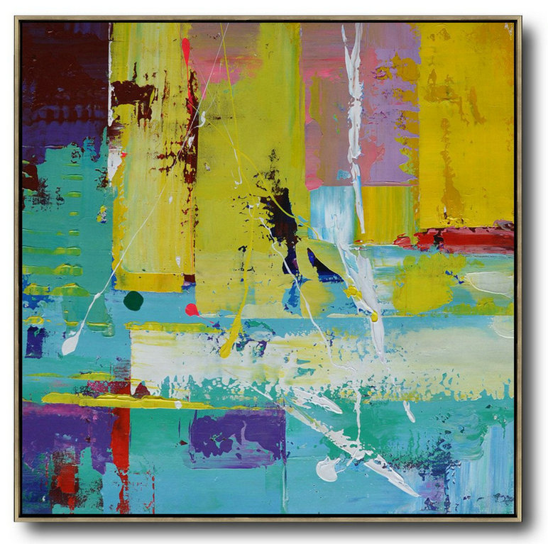 Oversized Palette Knife Painting Contemporary Art On Canvas,Large Abstract Art Handmade Acrylic Painting,Lake Blue,Purple,Yellow,Red