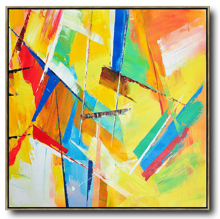Oversized Palette Knife Painting Contemporary Art On Canvas,Pop Art Canvas,Yellow,Light Green,Red,Blue,Pink