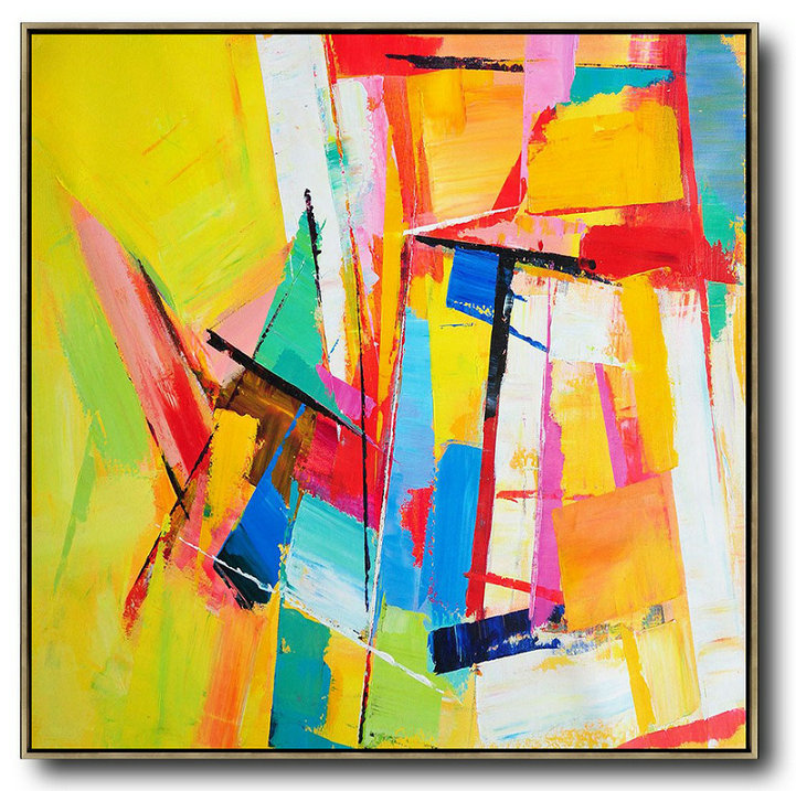Oversized Palette Knife Painting Contemporary Art On Canvas,Family Wall Decor,Yellow,Blue,Red,Pink,Light Green