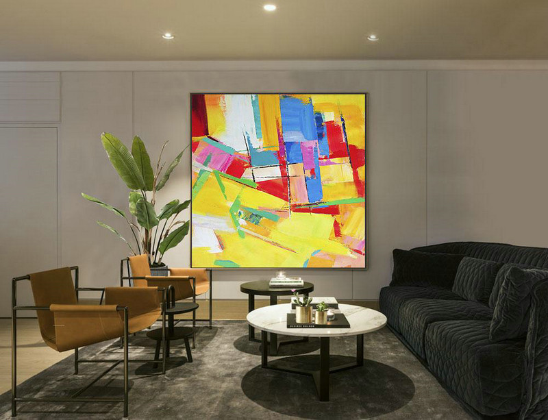 Oversized Palette Knife Painting Contemporary Art On Canvas,Large Living Room Decor,Yellow,Red,Blue,Pink,Light Green
