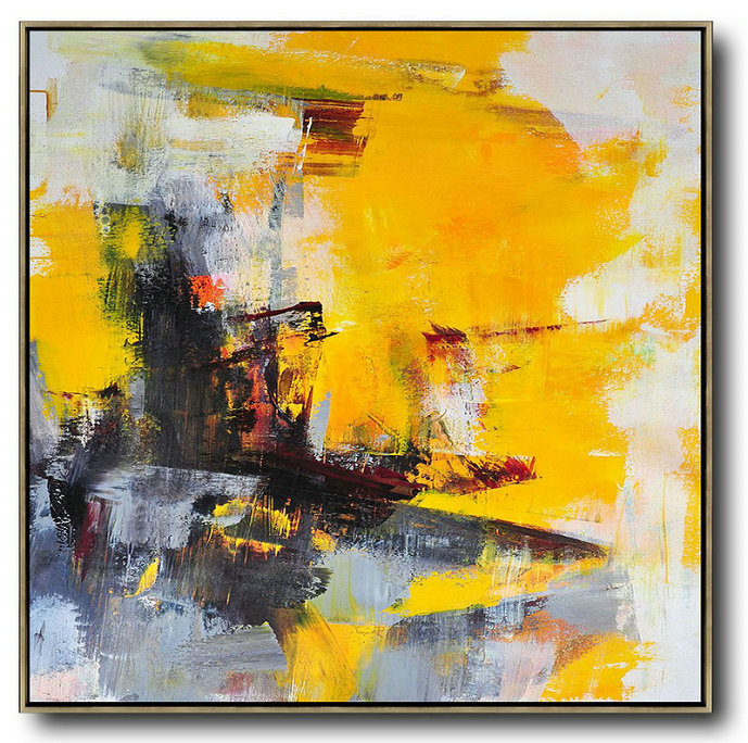 Oversized Palette Knife Painting Contemporary Art On Canvas,Acrylic Painting Wall Art,Black,Yellow,White,Red,Grey