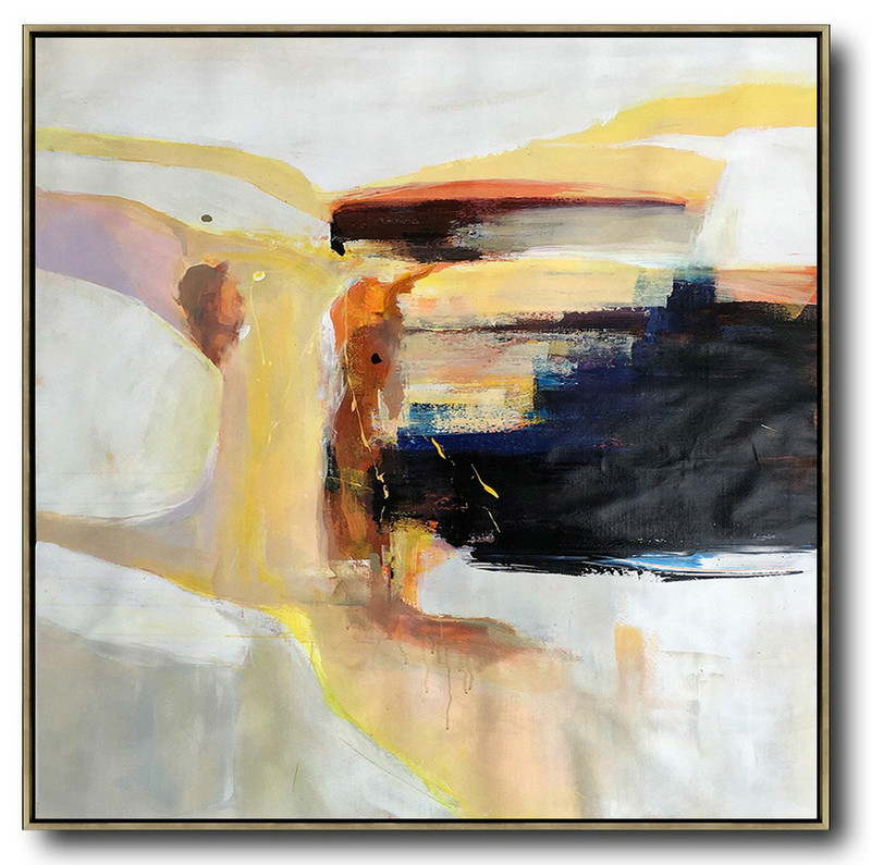 Oversized Palette Knife Contemporary Art,Canvas Wall Art Home Decor,Yellow,Black,Orange,White,Beige