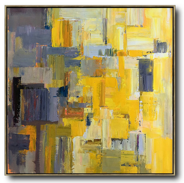 Oversized Palette Knife Painting Contemporary Art On Canvas,Xl Large Canvas Art,Yellow,Gray Violet,Brown,Taupe
