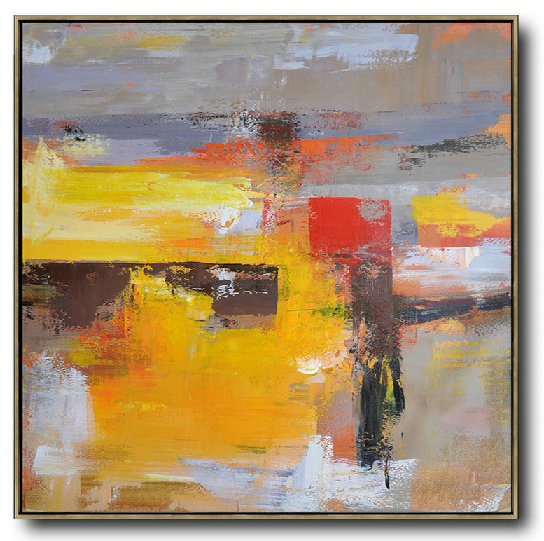 Oversized Palette Knife Painting Contemporary Art On Canvas,Huge Canvas Art On Canvas,Yellow,Grey,Brown,Red,Taupe