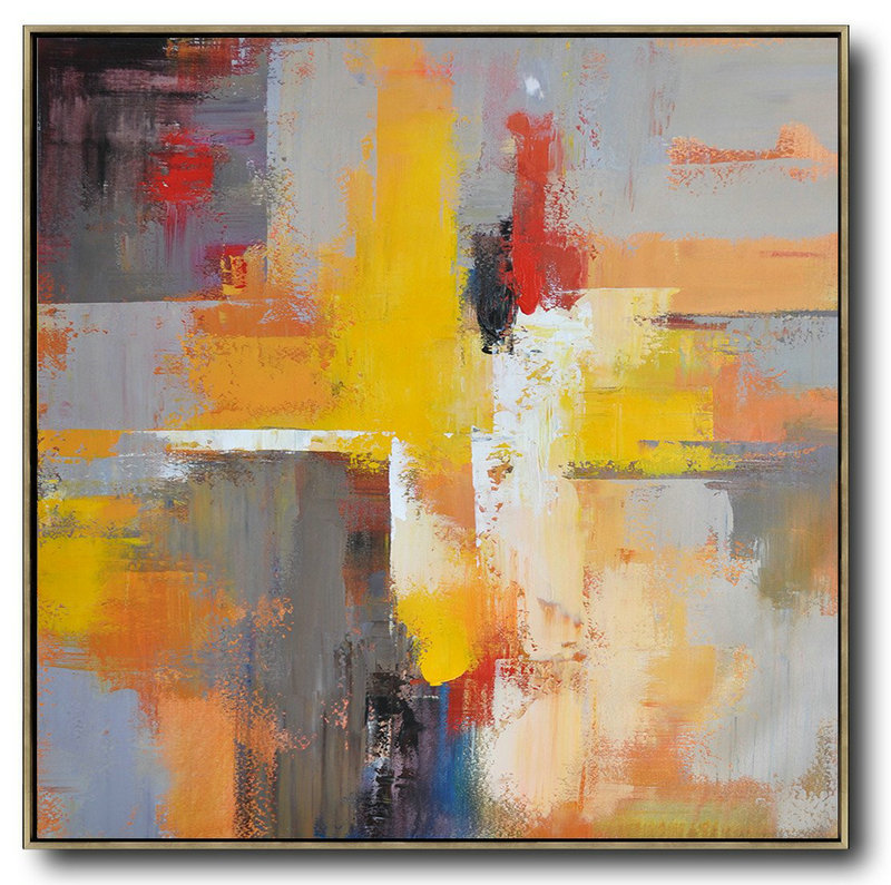 Oversized Palette Knife Painting Contemporary Art On Canvas,Large Paintings For Living Room,Yellow,Grey,Red,Taupe