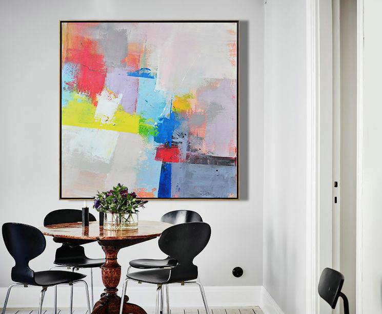 Palette Knife Contemporary Art Canvas Painting,Large Wall Canvas Paintings,Pink,Red,Blue,Yellow,Violet Ash - Click Image to Close