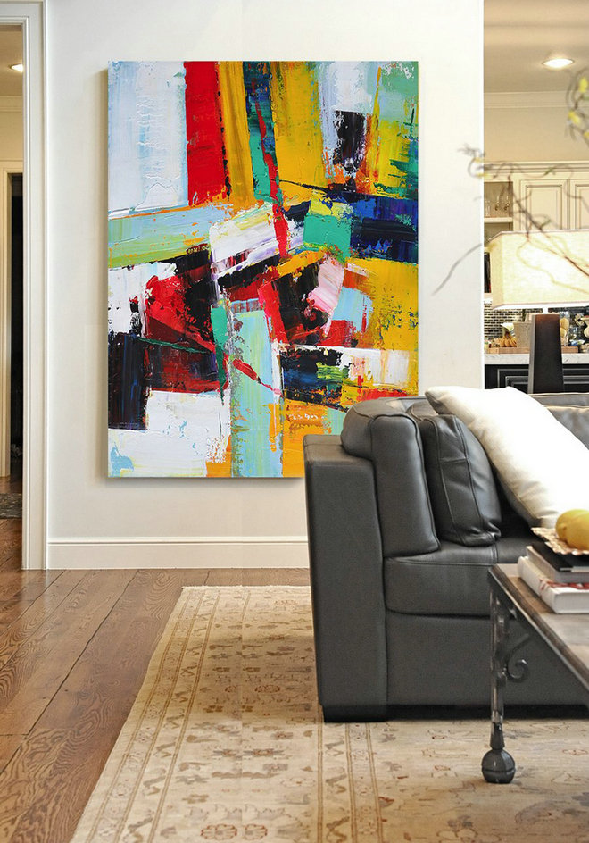 Vertical Palette Knife Contemporary Art,Huge Abstract Canvas Art,Red,Yellow,Dark Blue,White