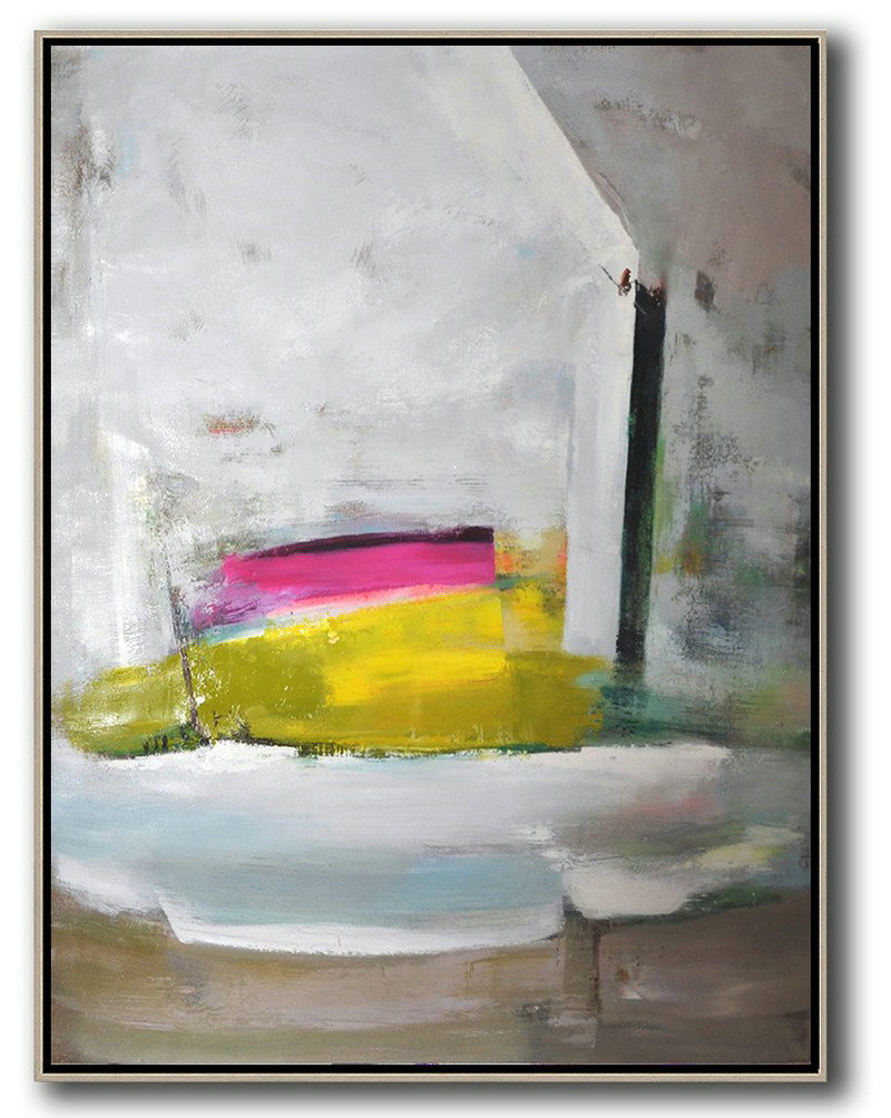Vertical Palette Knife Contemporary Art,Big Canvas Painting,Grey,White,Yellow,Pink