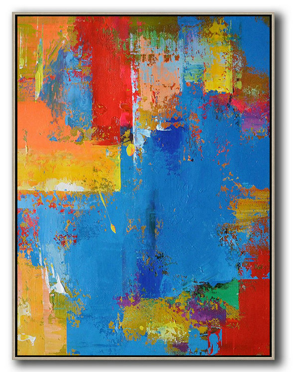 Vertical Palette Knife Contemporary Art,Large Canvas Art,Modern Art Abstract Painting,Blue,Red,Yellow