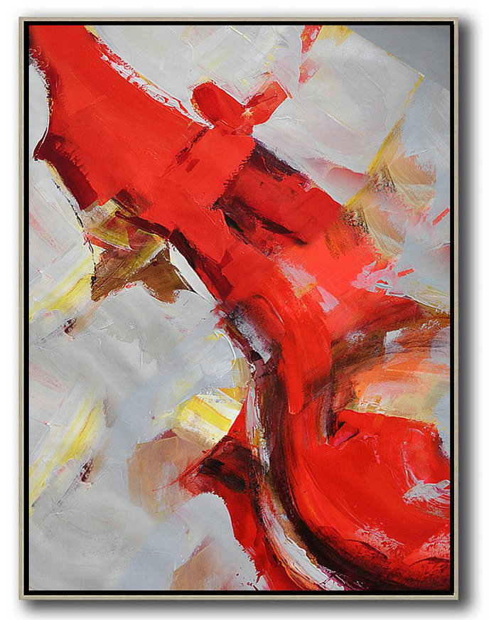 Vertical Palette Knife Contemporary Art,Large Canvas Art,Modern Art Abstract Painting,Red,Grey,White,Brown