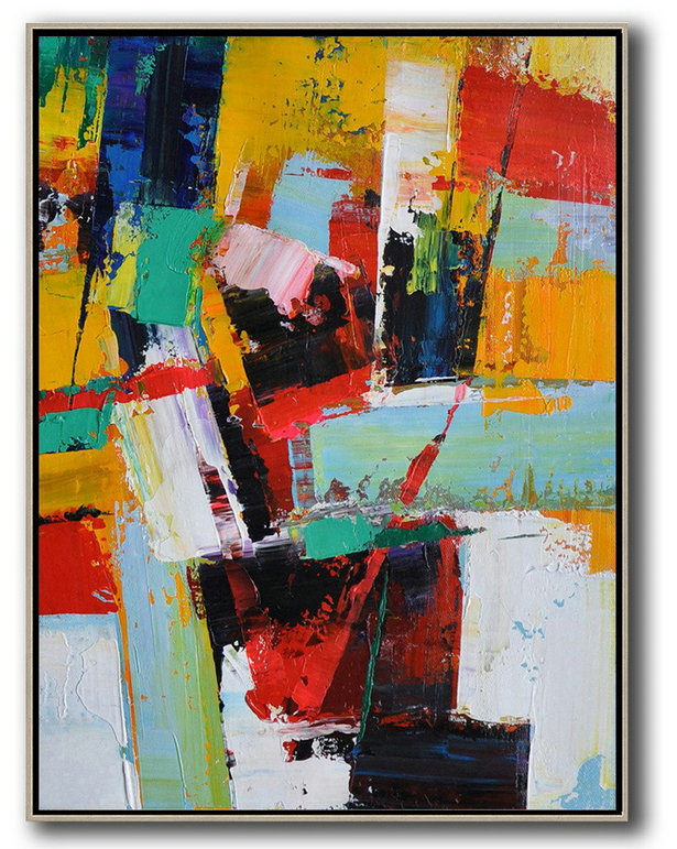 Vertical Palette Knife Contemporary Art,Oversized Custom Canvas Art,Yellow,Red,White,Blue
