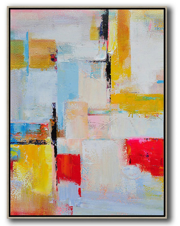 Vertical Palette Knife Contemporary Art,Original Art Acrylic Painting,Pink,Red,Yellow,Grey,Sky Blue