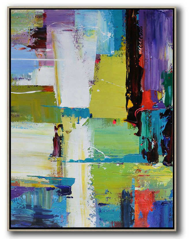 Vertical Palette Knife Contemporary Art,Oversized Custom Canvas Art,Purple,Yellow,Grass Green,Black,Red