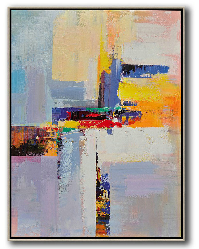 Vertical Palette Knife Contemporary Art,Contemporary Wall Art,Yellow,White,Red,Purple