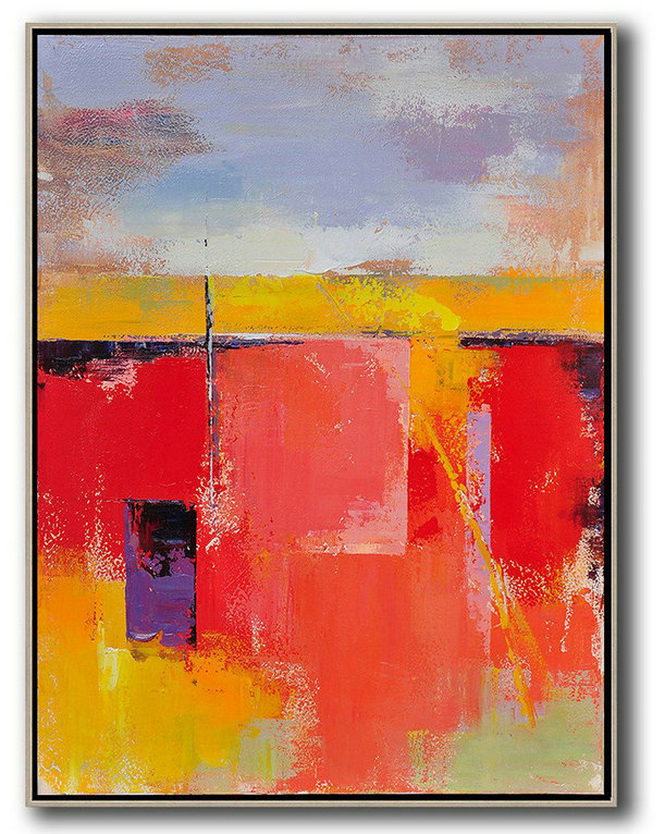 Vertical Palette Knife Contemporary Art,Large Canvas Wall Art For Sale,Purple,Grey,Yellow,Red