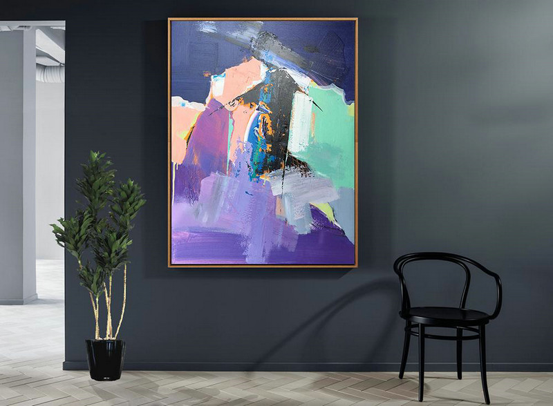 Vertical Palette Knife Contemporary Art,Modern Paintings On Canvas,Purple,Pink,Black,Lake Blue,Dark Blue