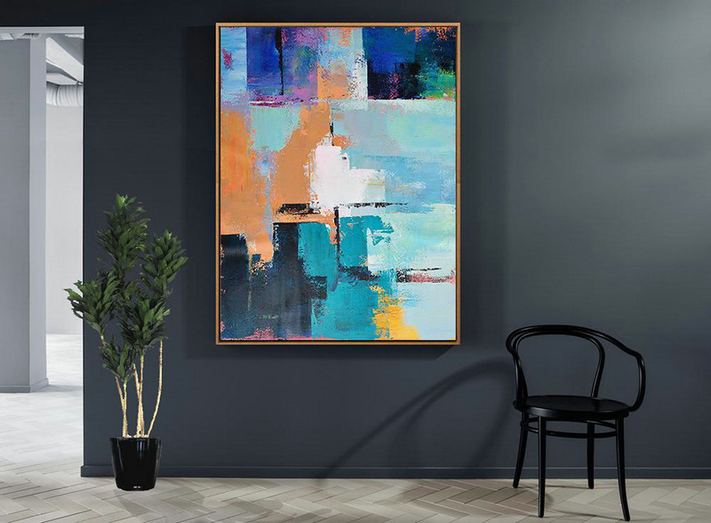 Vertical Palette Knife Contemporary Art,Large Wall Canvas,White,Earthy Yellow,Blue,Black,Lake Blue