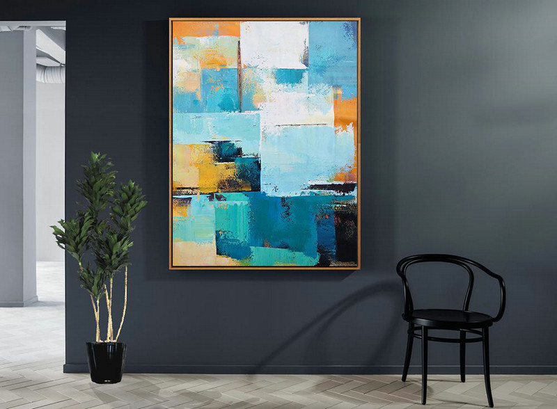 Vertical Palette Knife Contemporary Art,Huge Canvas Art On Canvas,White,Blue,Orange,Yellow