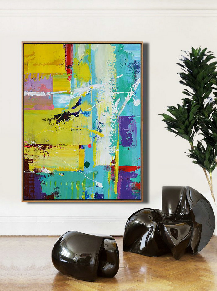 Vertical Palette Knife Contemporary Art,Extra Large Wall Art,Sky Blue,Yellow,Purple,Red