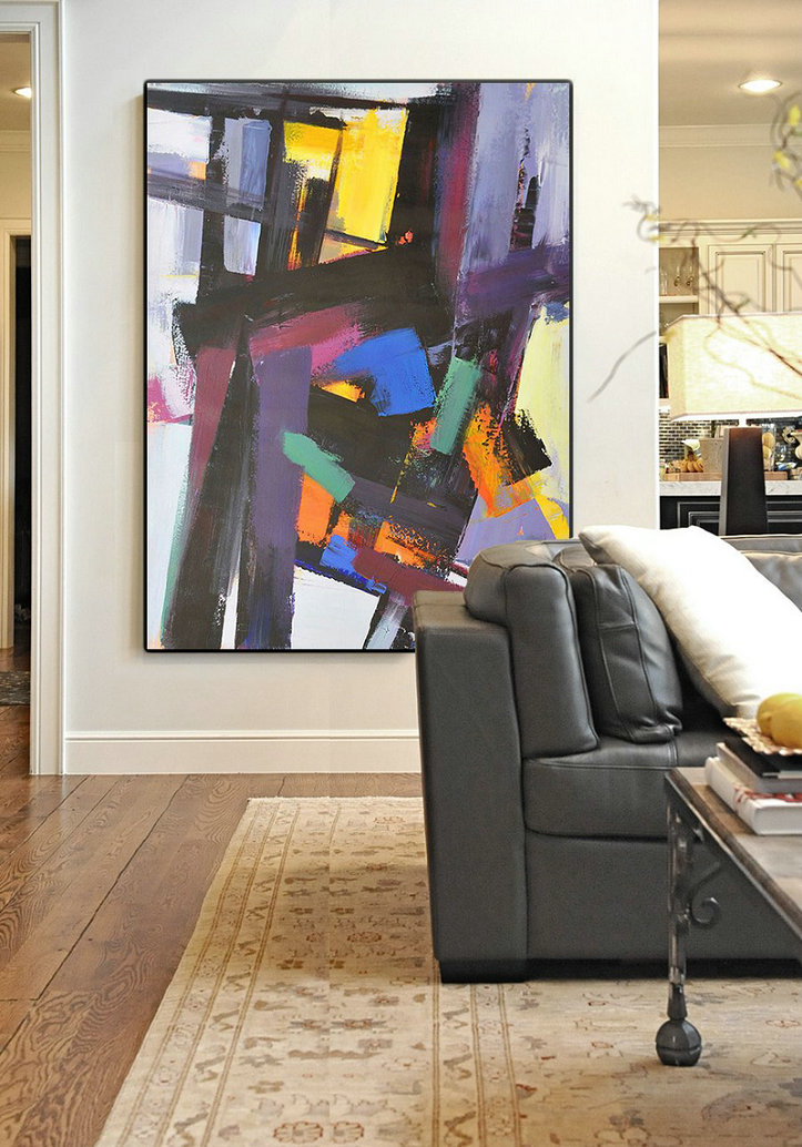 Vertical Palette Knife Contemporary Art,Acrylic Painting On Canvas,Black,Purple,Pink,Blue,Yellow,Brown