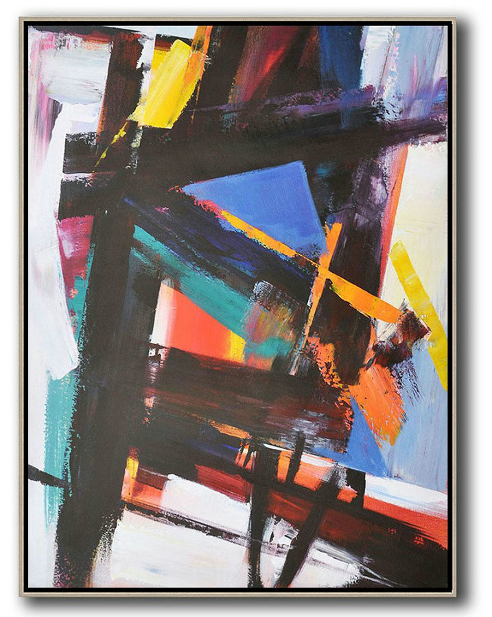 Vertical Palette Knife Contemporary Art,Extra Large Paintings,Black,Blue,Orange,Red