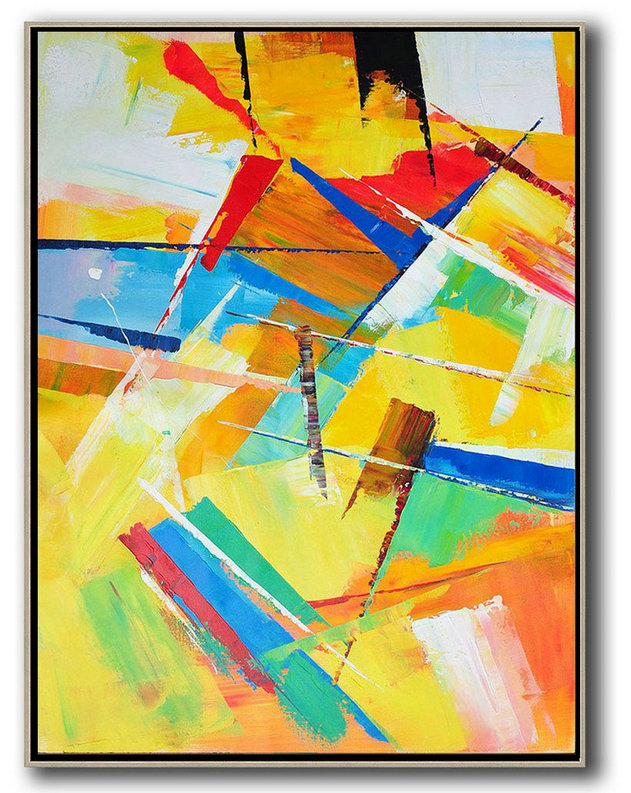 Vertical Palette Knife Contemporary Art,Big Art Canvas,Yellow,Red,Blue,White