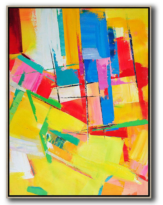 Vertical Palette Knife Contemporary Art,Large Colorful Wall Art,Yellow,Red,Blue,Purple