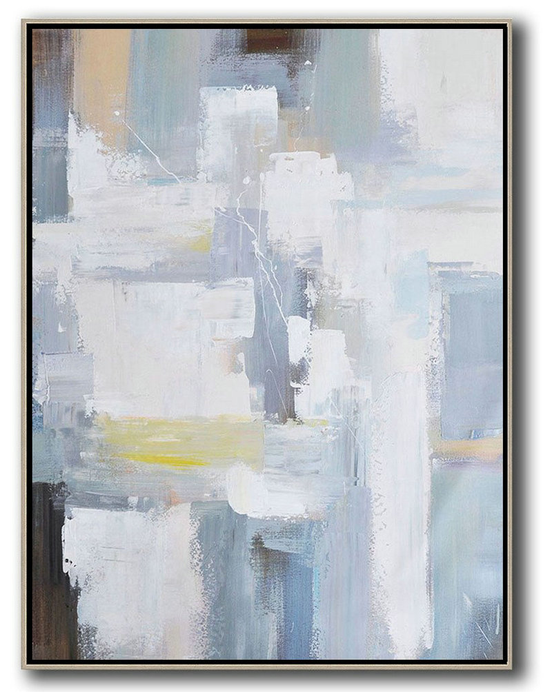 Vertical Palette Knife Contemporary Art,Acrylic Painting Large Wall Art,White,Grey,Brown,Yellow